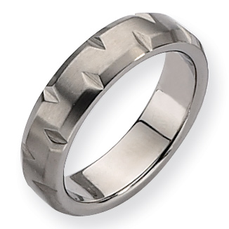Titanium Notched Satin Wedding Band 6mm