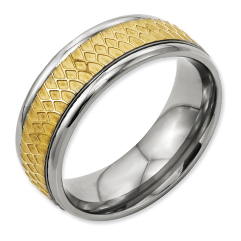 8mm Titanium Gold-Plated Ring with Ridged Edges