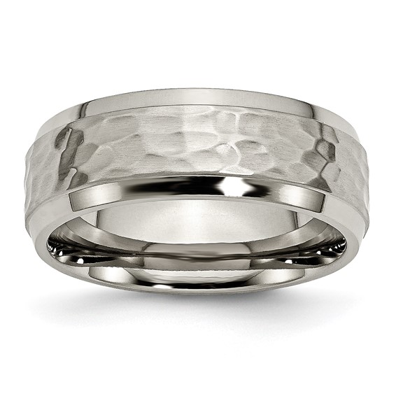 8mm Titanium Hammered Ring with Beveled Edges