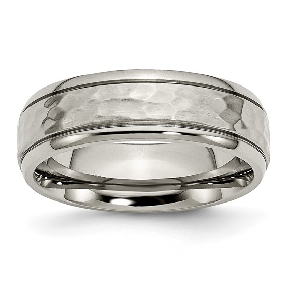 Titanium 7mm Hammered Ring with Grooved Edges