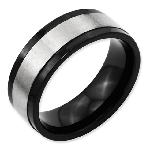 Black Plated 8mm Titanium Ring with Gray Center