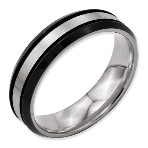Black Plated 6mm Titanium Ring with Beveled Edges