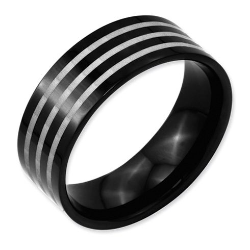 Black Plated Titanium 8mm Ring with Gray Lines