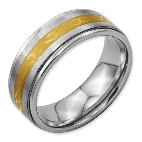 Titanium 8mm Gold-Plated Ring with Ridged Edges