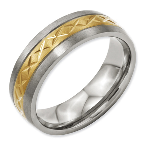 Titanium 7mm Gold-Plated Ring with X Design