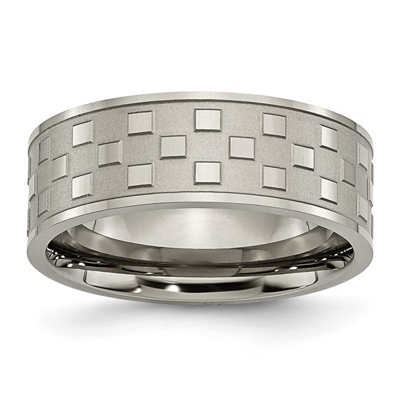 Titanium 8mm Checkered Ring