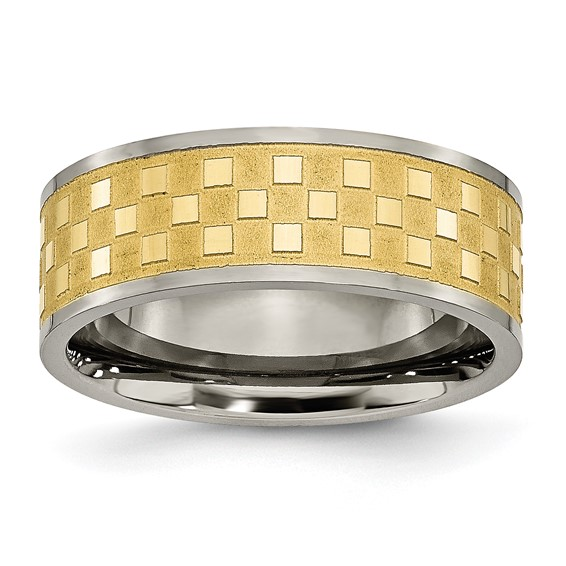 8mm Gold-Plated Titanium Checkered Ring