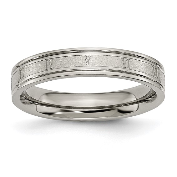 Titanium 4.5mm Satin and Polished Roman Numerals Band