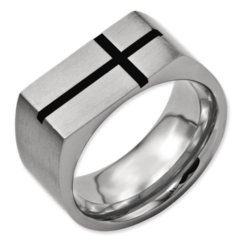 Titanium 10mm Ring with Black Cross