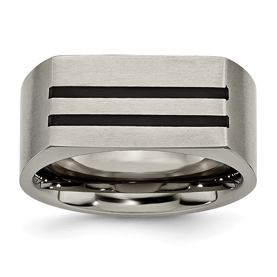 Titanium Black Enamel Stripes Brushed Wedding Band 10mm