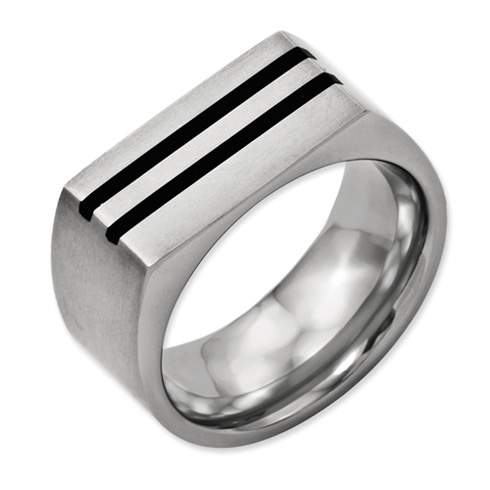 Titanium 10mm Black Enamel Stripes Brushed Band