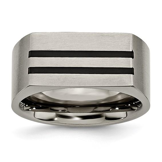 Titanium 10mm Black Enamel Stripes Brushed Band