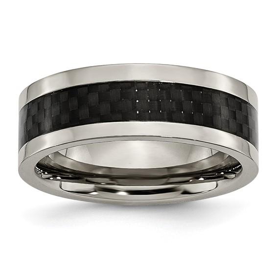 8mm Flat Titanium Ring with Carbon Fiber