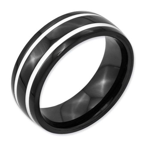 Black Plated Titanium 8mm Ring with White Enamel Inlay