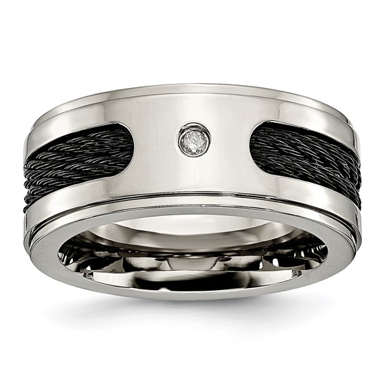 Titanium 10mm Diamond Ring with Cable Inlay