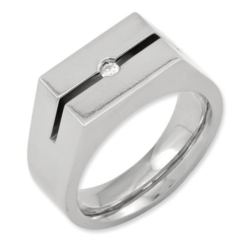 Diamond Titanium Signet Ring with Groove