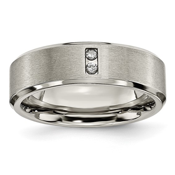 Titanium 7mm Brushed Wedding Band with Two Diamonds
