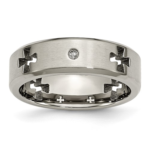 Titanium 7mm Ring with Diamonds and Cut-out Crosses