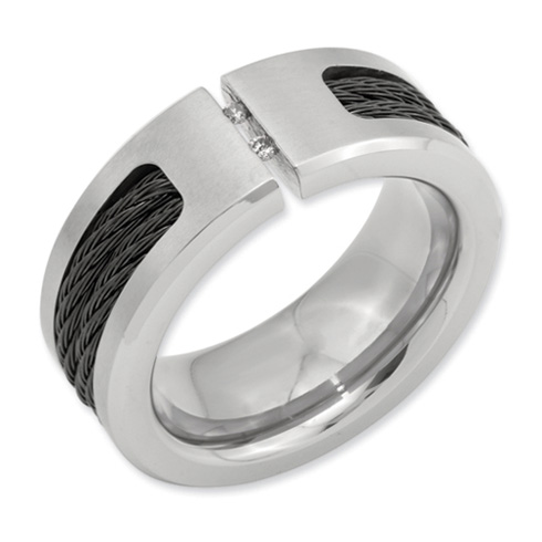 10mm Tension Set Diamond Titanium Ring with Cable Inlay