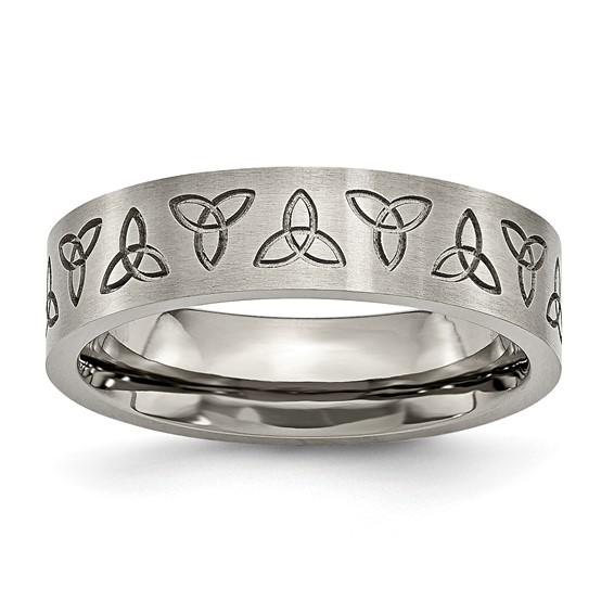 Titanium 6mm Engraved Trinity Symbol Brushed Wedding Band