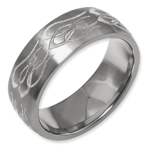 Titanium Domed 8mm Flame Design Band