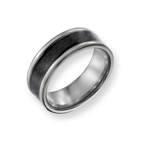 Titanium 8mm Carbon Fiber Ring with Rounded Edges