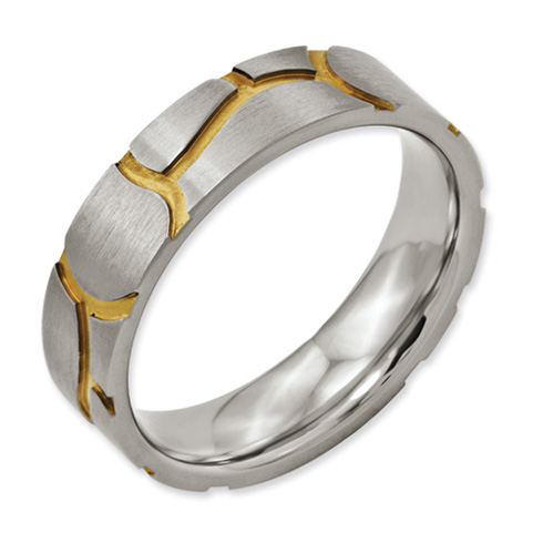 Titanium Satin & Grooved Gold-plated Ladies 6mm Band