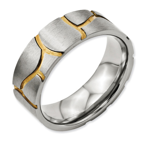 Titanium Satin & Grooved Gold-plated 8mm Wedding Band