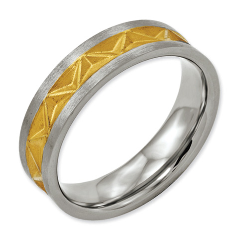 Titanium Satin and Gold-plated Ladies 6mm Band