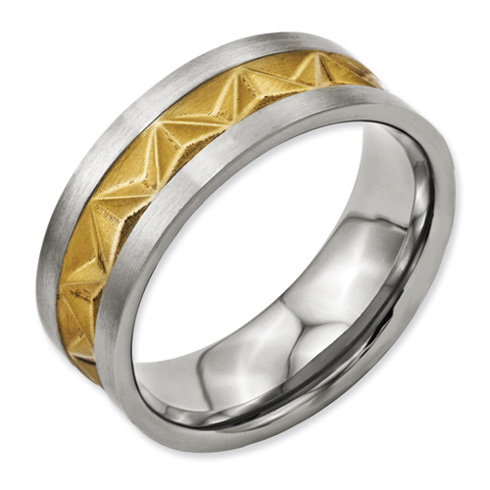 Titanium 8mm Satin and Gold-plated Mens Ring