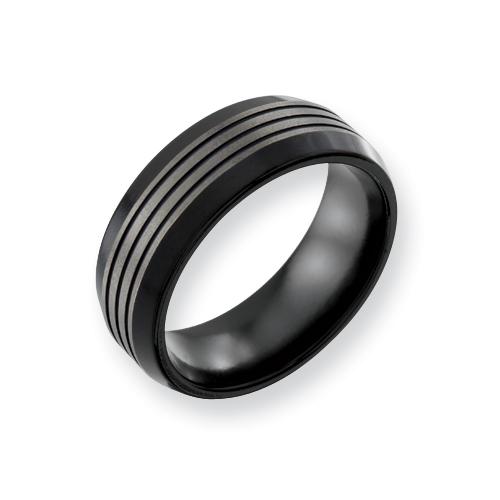 8mm Black Titanium Ring with Ridged Top