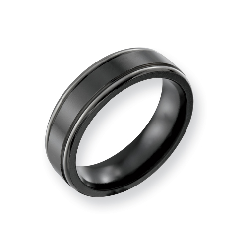 Black Titanium 6.5mm Ring with Grey Borders