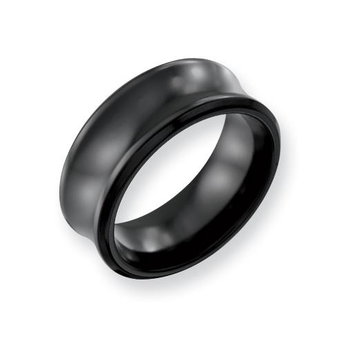 Black Titanium 9mm Concave Ring
