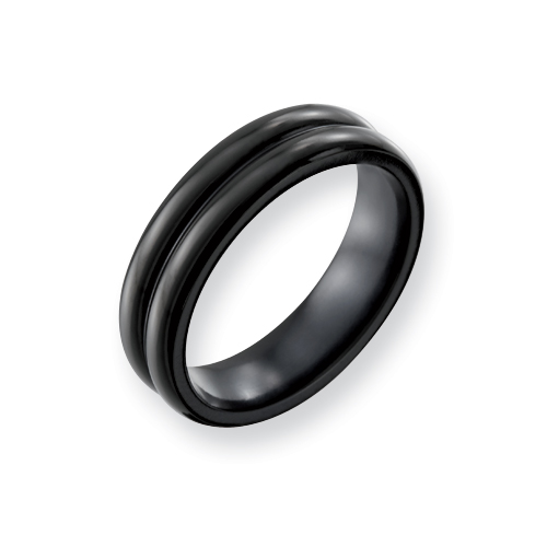 Black Titanium 6mm Double Domed Ring