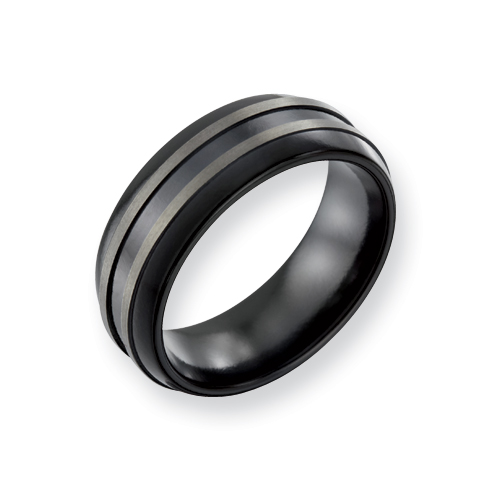 Black Titanium 8mm Ring with Gray Ridges