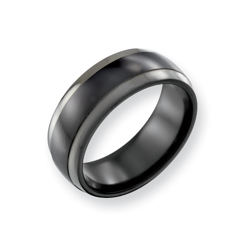 Black Titanium 8mm Ring with Grey Edges
