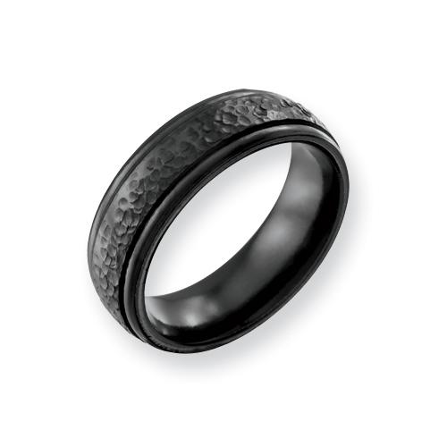 Black Titanium 7mm Hammered Wedding Band