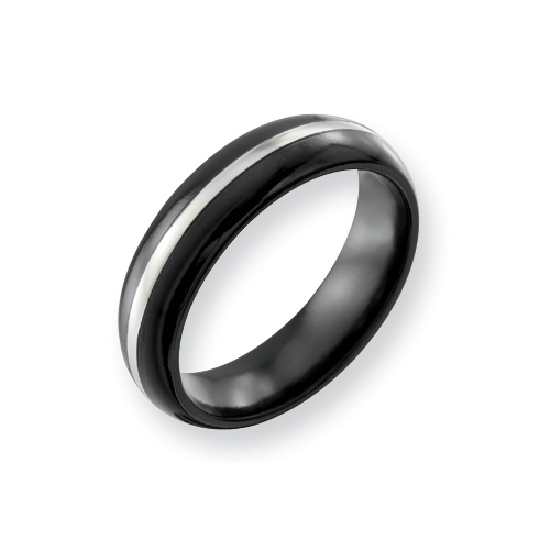 Black Titanium 6mm Ring with Sterling Silver Inlay
