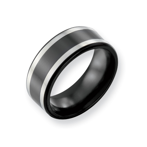 Black Titanium 9mm Flat Ring with Sterling Silver Inlay