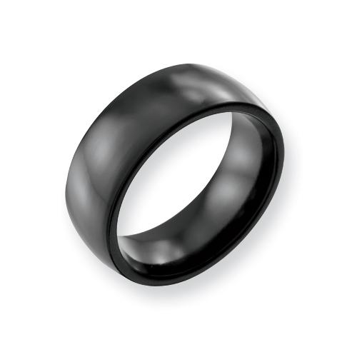 Black Titanium 8mm Domed Ring