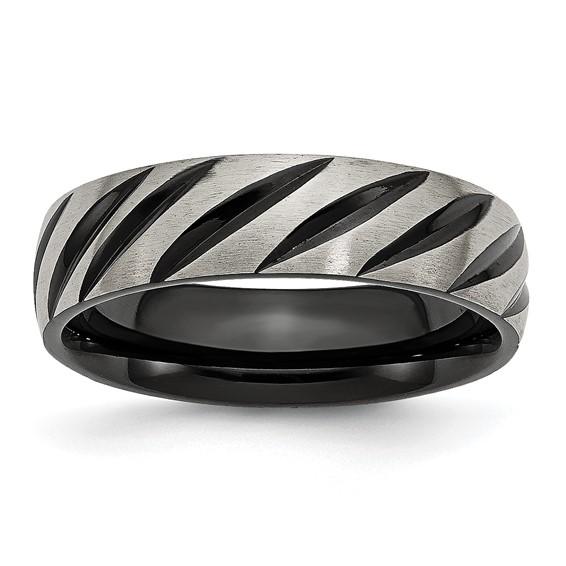 Titanium 6mm Black Plated Swirl Ring