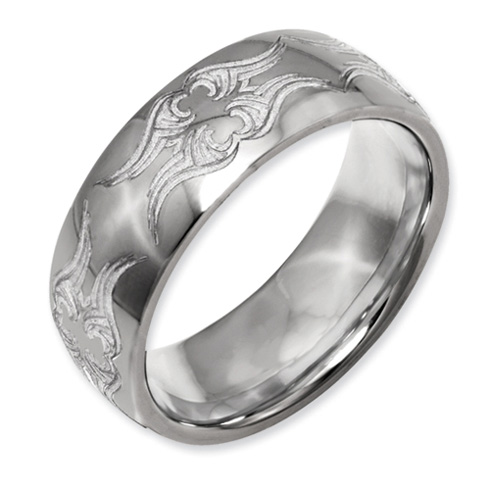Titanium Domed 8mm Swirl Design Band