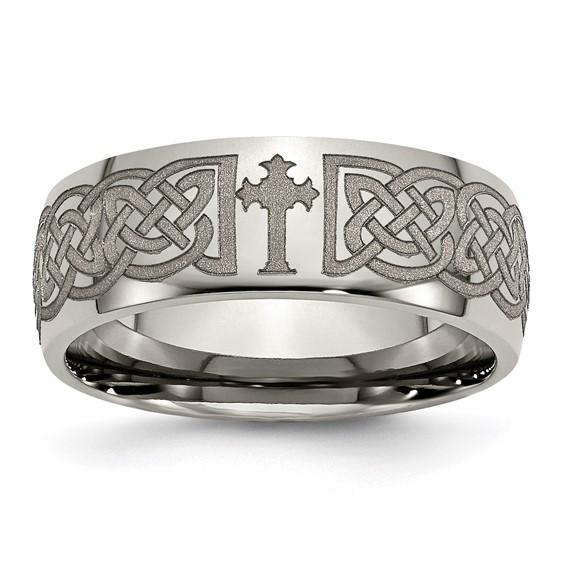 Titanium 8mm Domed Celtic Cross Design Wedding Band