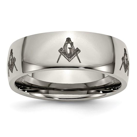 8mm Titanium Masonic Domed Ring