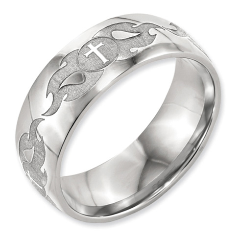 Titanium 8mm Domed Wedding Band with Crosses and Flames