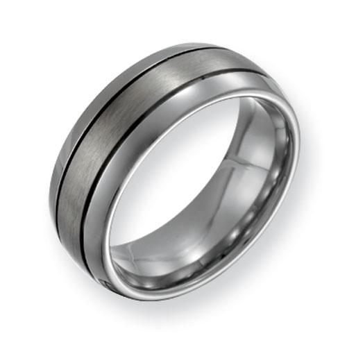 Titanium 8mm Grooved Wedding Band with Brushed Center