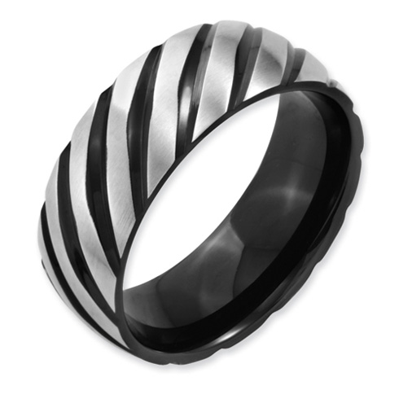 Titanium 8mm Black Plated Swirl Band