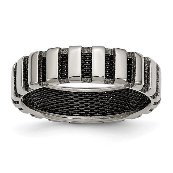 Titanium & Black Wire 6mm Band