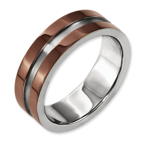 Titanium 8mm Chocolate Plated Ring with Brushed Center