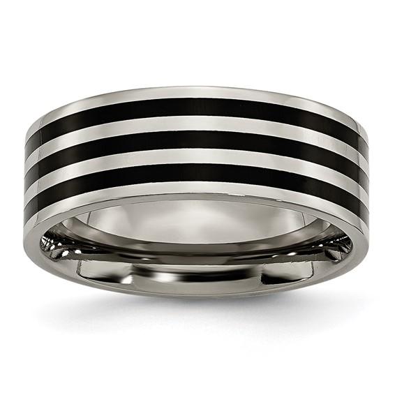 Black-plated Titanium 8mm Flat Stripes Ring